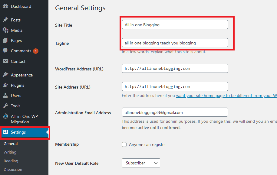 Start a Blog - General Setting Page